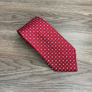 Jos A Bank XL Red w/ Blue Check Silk Tie
